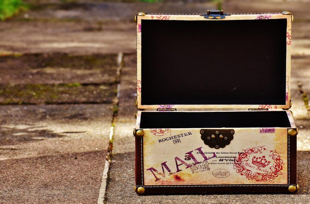 vintage mail trunk on plank floor