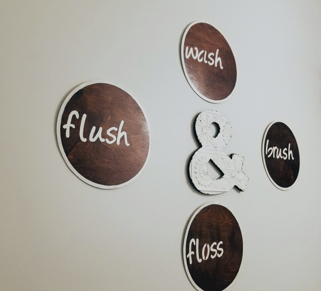 "DIY ""Wash,"" ""Brush,"" ""Floss,"" ""Flush"" Rustic Bathroom Decor"