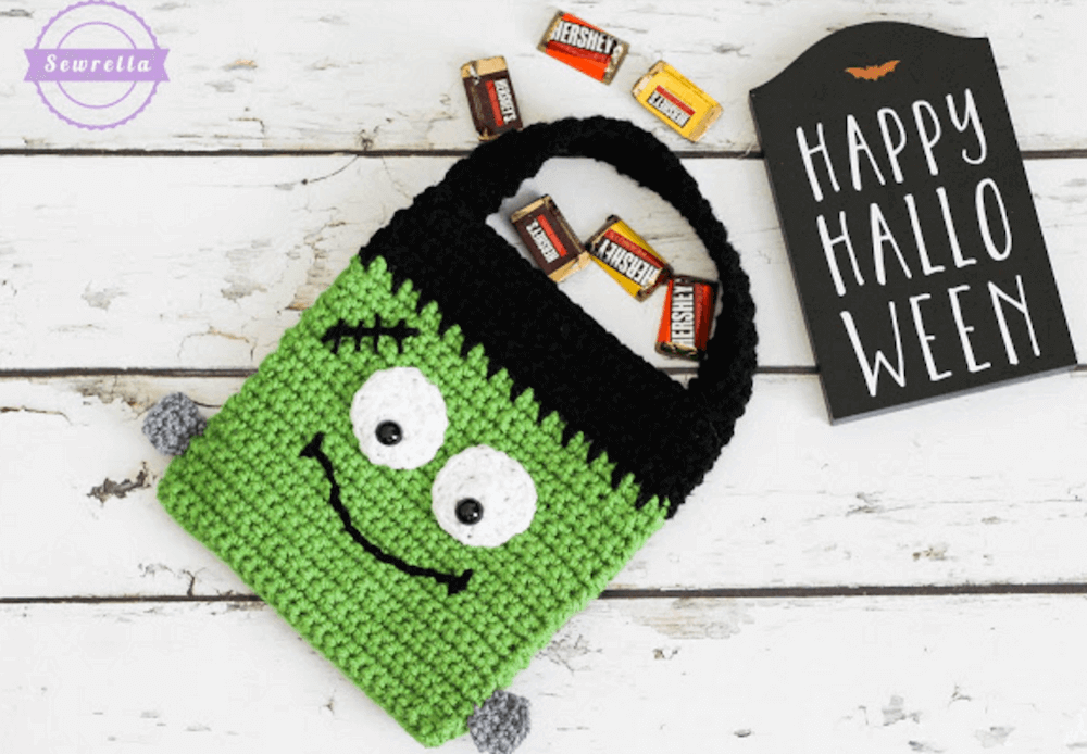 frankenstein trick-or-treat bag crochet pattern by sewrella