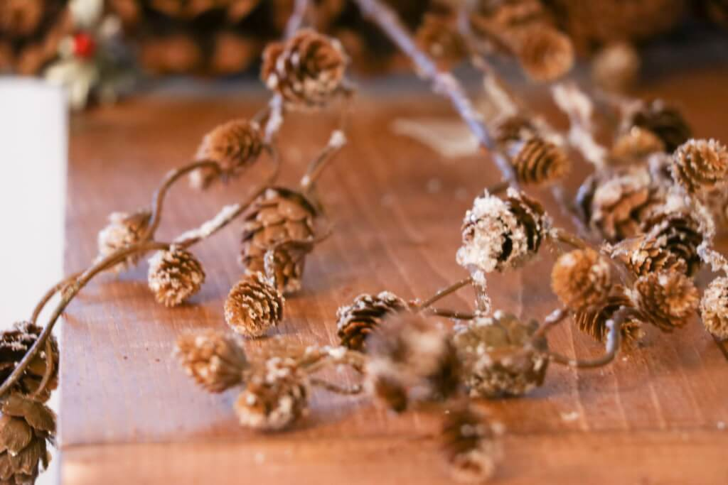 pine cone christmas wreath- fill gaps