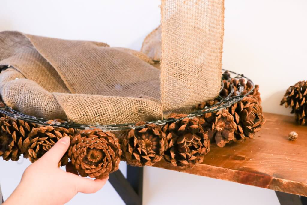 pine cone christmas wreath- wrap the burlap