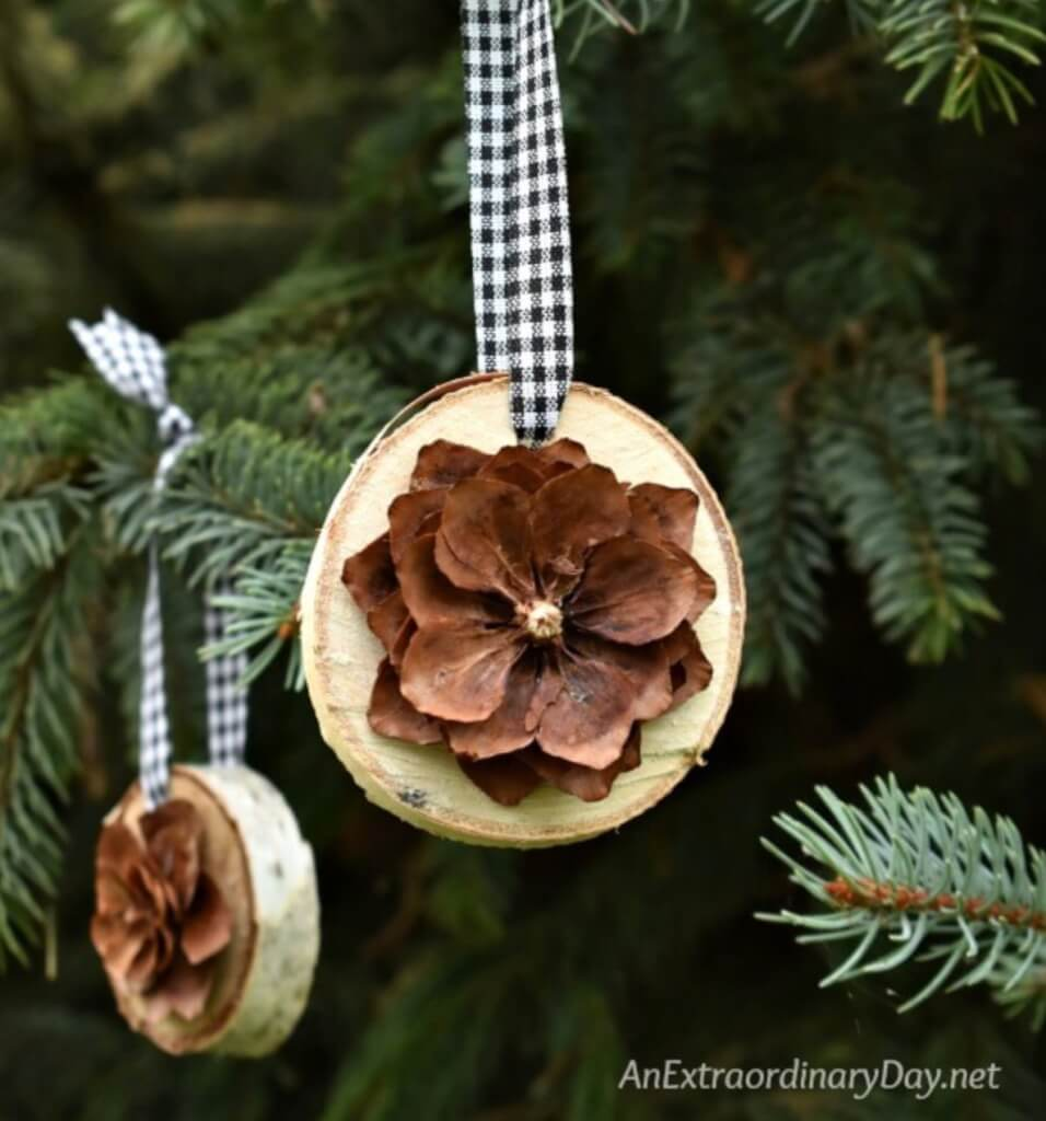 christmas pine cone crafts- birch and pine cone ornaments
