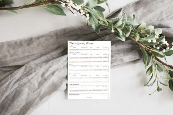 thanksgiving menu mockup