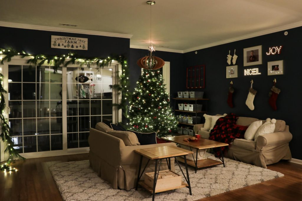 christmas home tour 2017- living room night