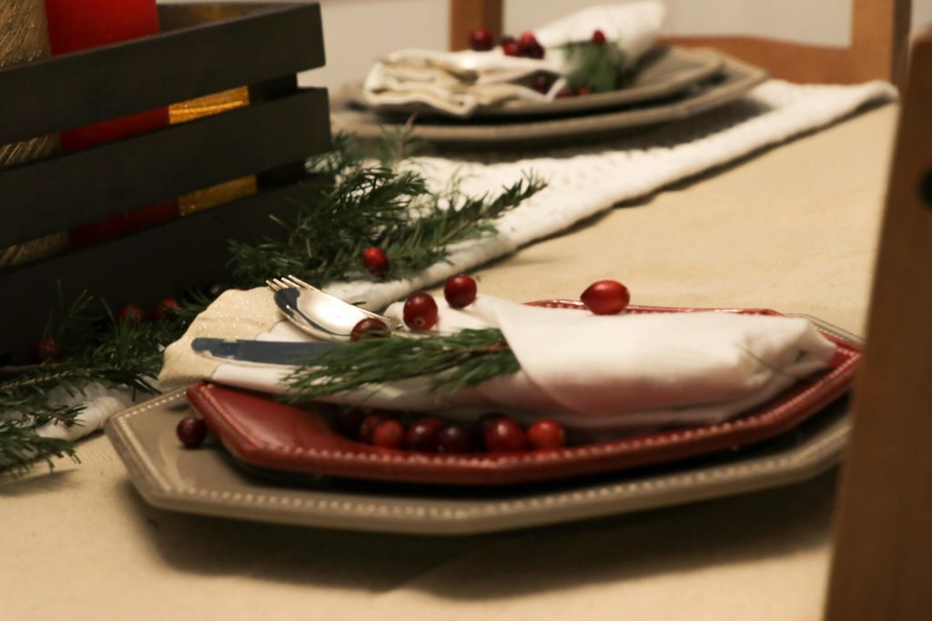 christmas home tour 2017- tablescape napkins two