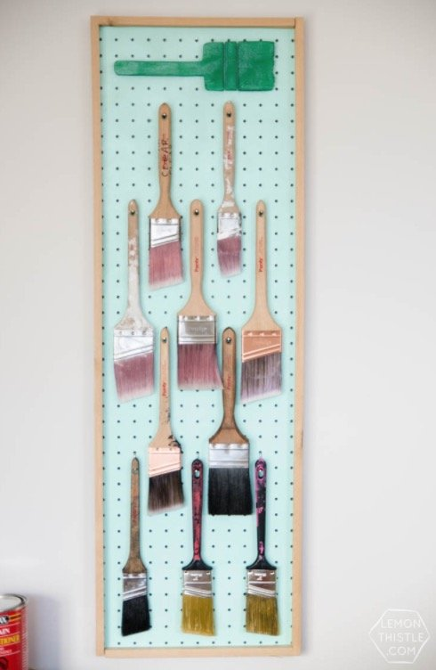 How to Organize and Decorate Any Space with Pegboard-paintbrush organizer