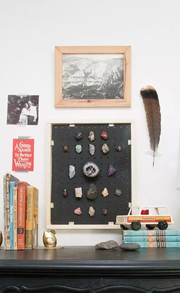 How to Organize and Decorate Any Space with Pegboard- rock collection