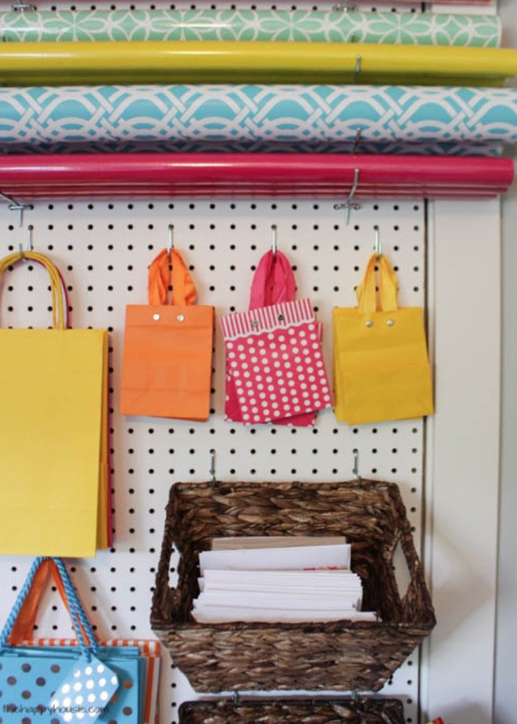 How to Organize and Decorate Any Space with Pegboard-gift wrapping station