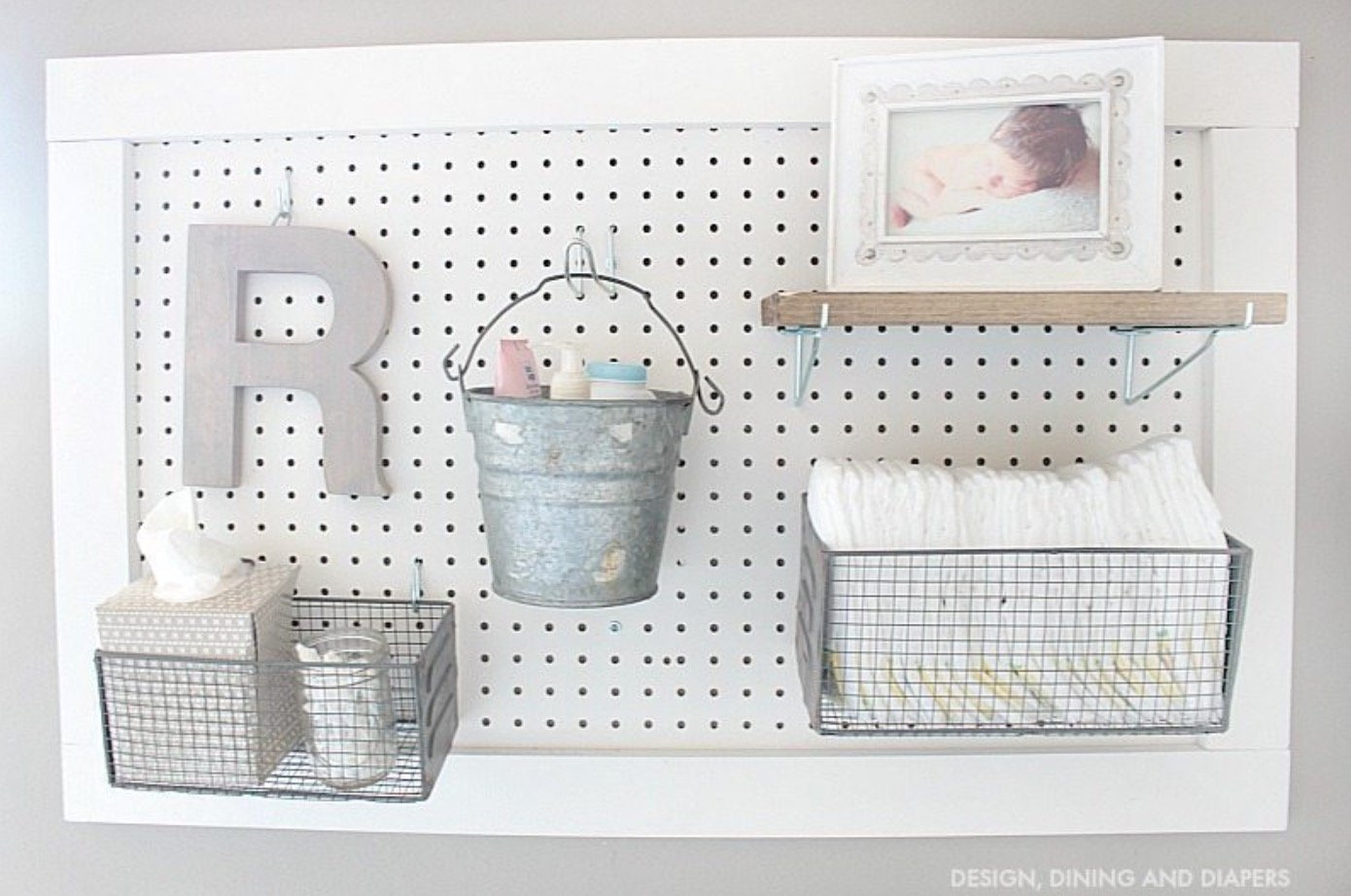 How to Organize and Decorate Any Space with Pegboard-diaper changing station