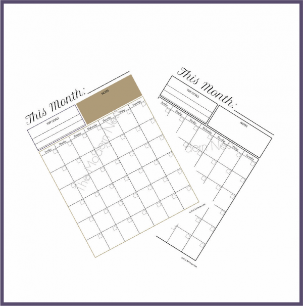 monthly planner printable fanned