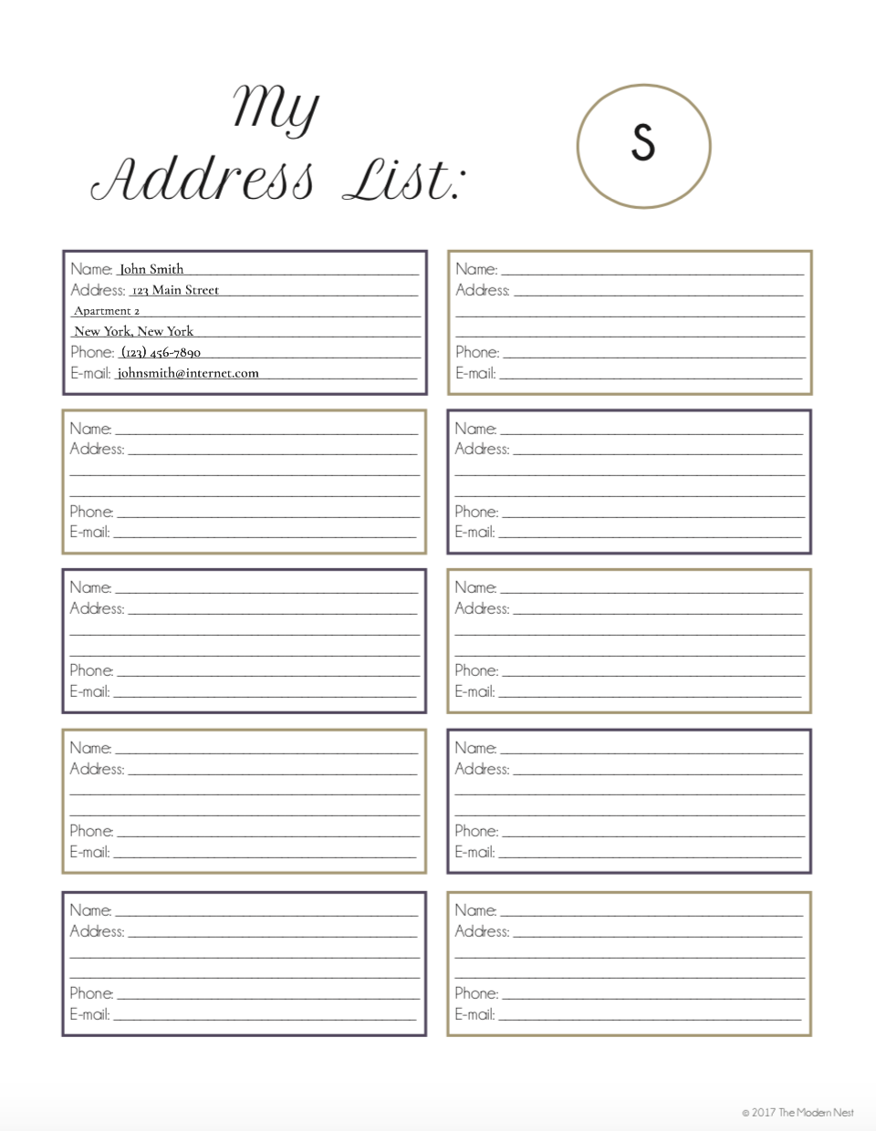 This is a photo of Challenger Printable Address Book