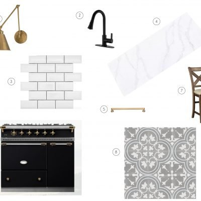 Chic Black, White, and Brass Kitchen Mood Board
