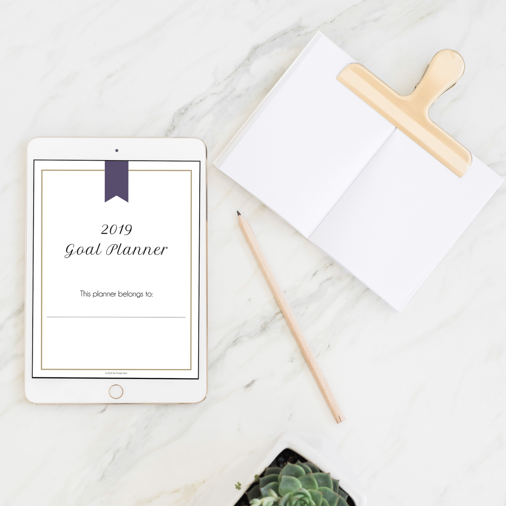 printable 2019 goal planner title page mockup