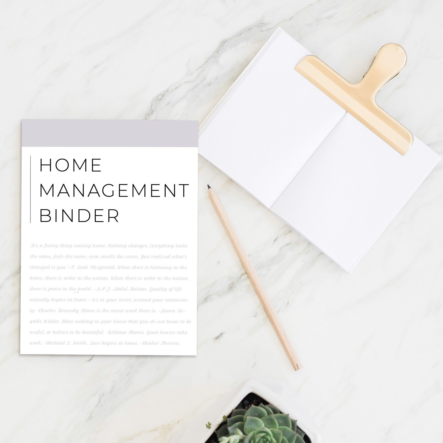 home binder master kit mockup